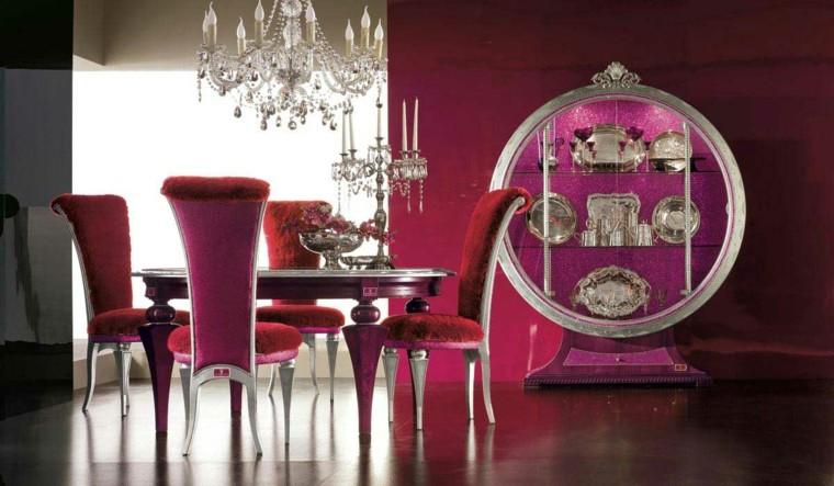terciopelo tapizado rojo rosa sillas