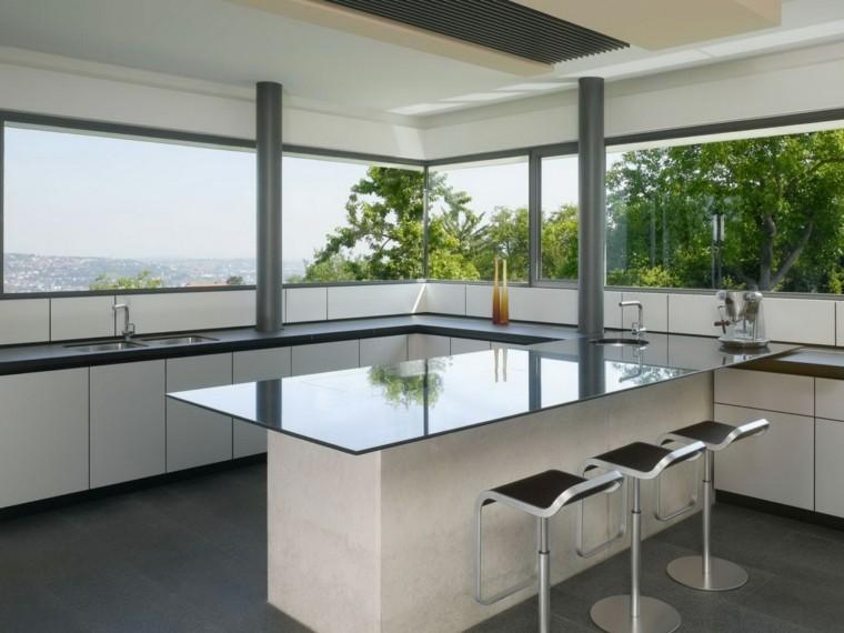 terraza cocina encimera vidrio vistas