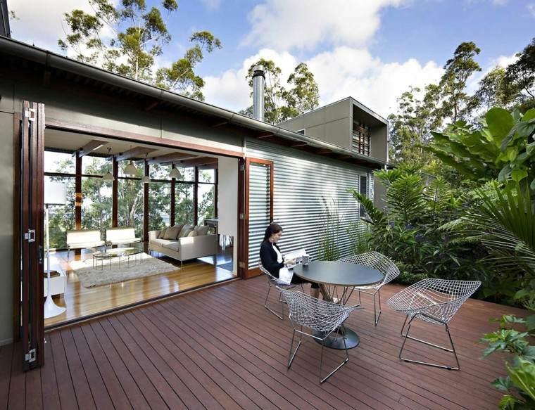 terraza diseno muebles originales acero suelo madera ideas
