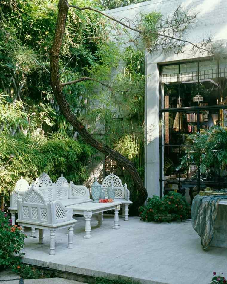 terraza epoca muebles blancos madera ideas