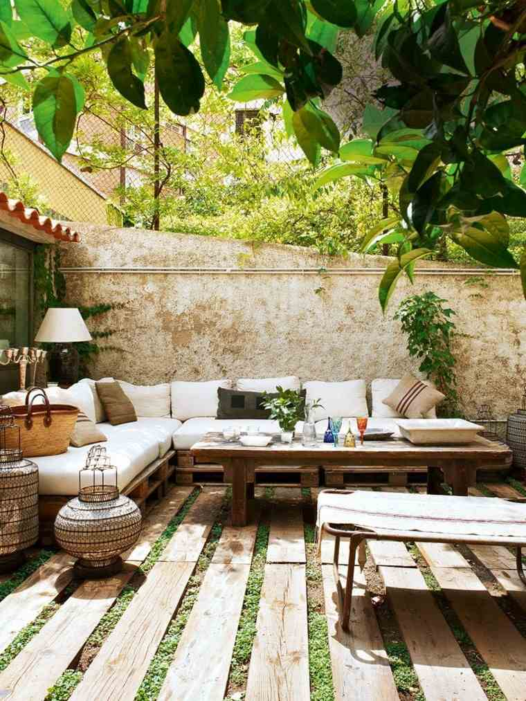terraza laminas madera suelo pared muebles palets ideas