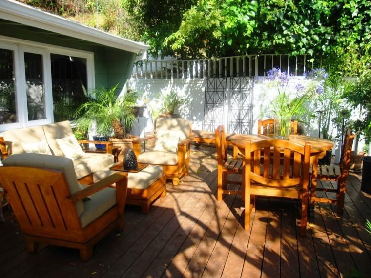 terraza muebles teca luminosa suelo madera ideas