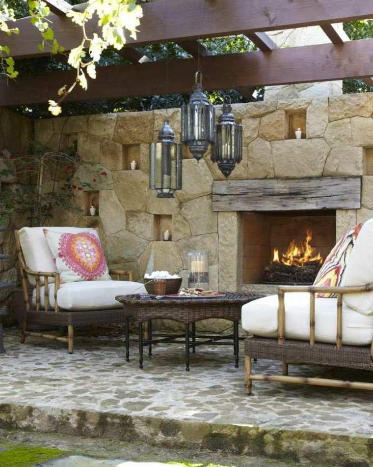 terraza muralla decorativa chimenea muebles pergola ideas