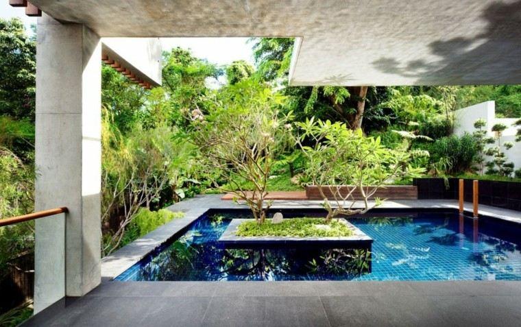 ideas terraza piscina medio jardin arboles precioso