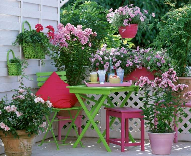 terraza preciosas mesa silla plegable madera verde ideas