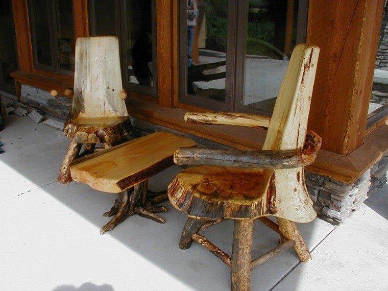 terraza sillas mesa pulido exterior tronco