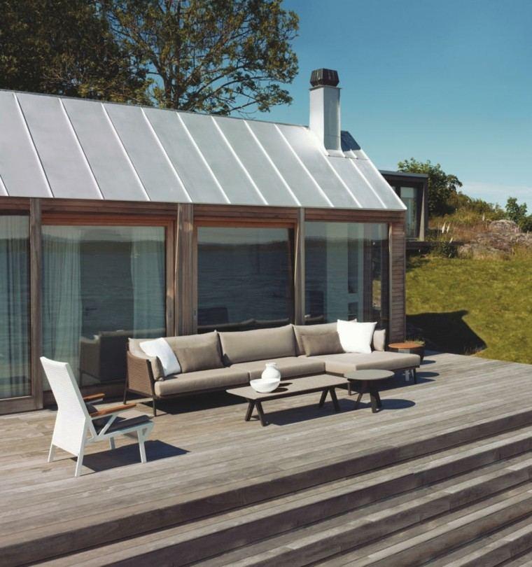 terraza suelo madera-escaleras muebles color gris ideas