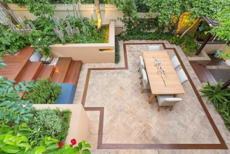 terraza suelo madera jardin losas mesa sillas ideas