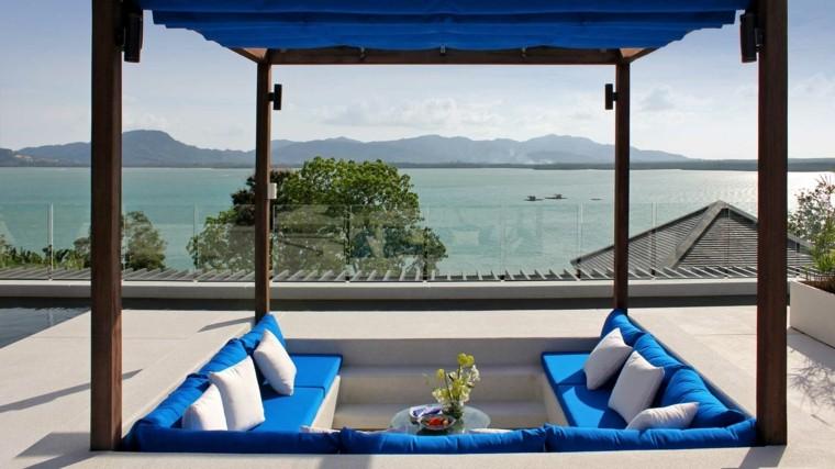 terraza vistas mar pergola cojines blancos ideas