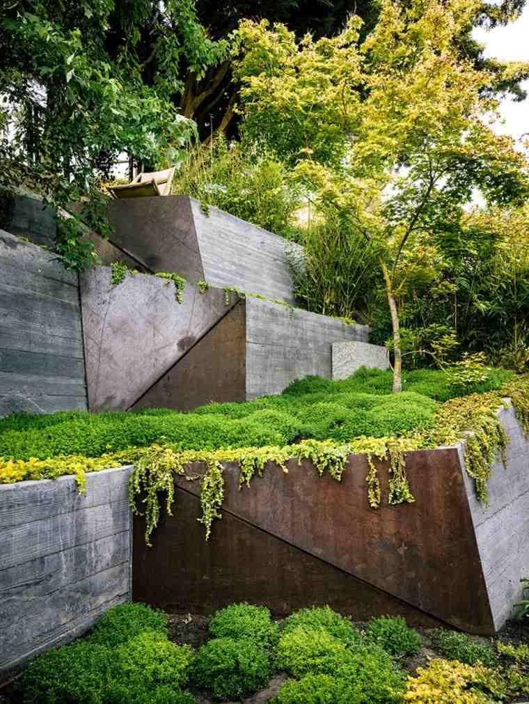 terrazas diseño pendiente jardin moderno