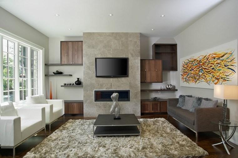 trabertino crema chimenea alfombra moderno