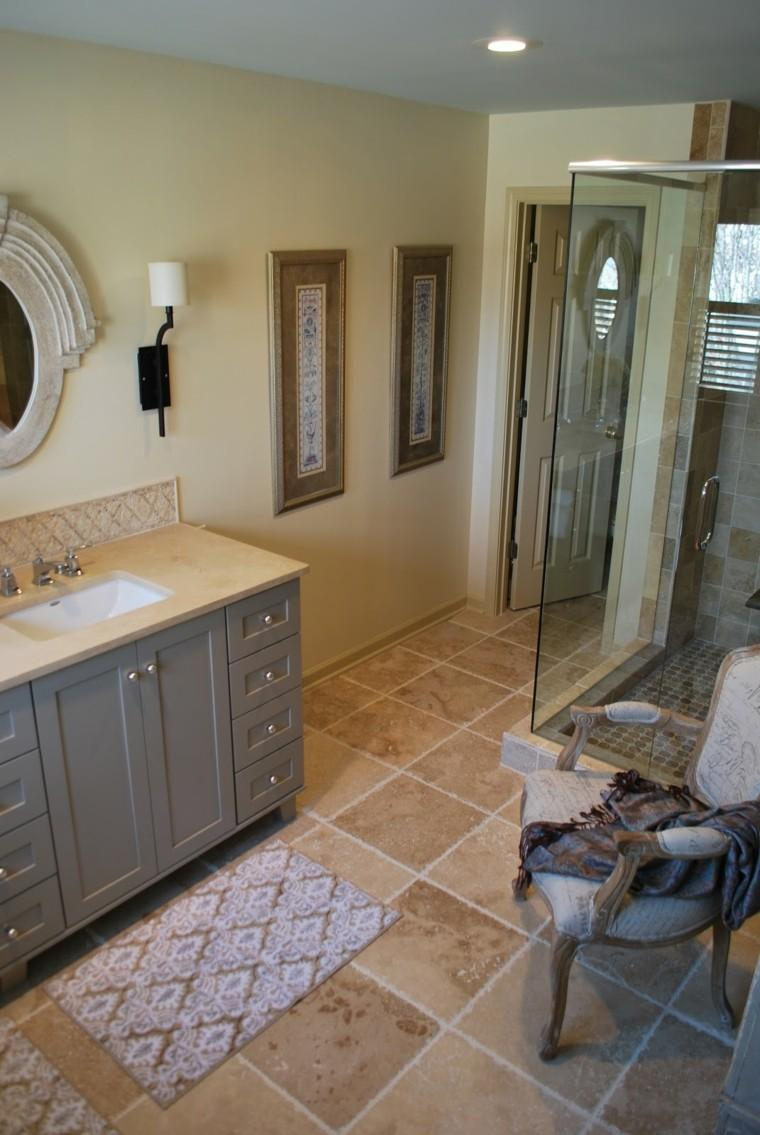 trabertino interior decoracion piso espejo
