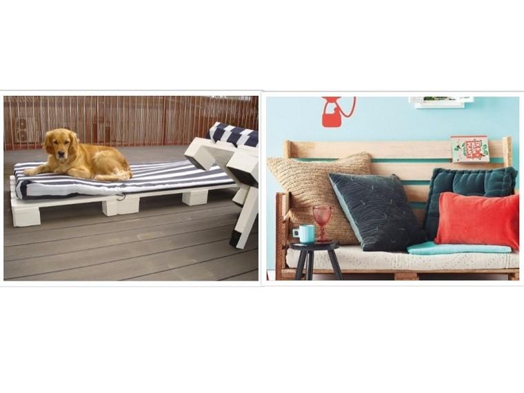 tumbona terraza cojines rayas perro patio