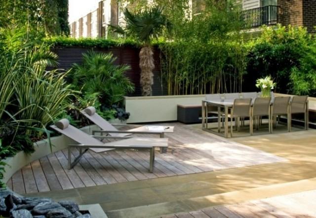 tumbonas madera plantas jardin moderno