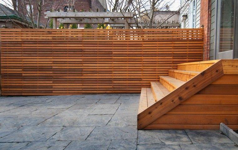 valla escaleras madera ideas jardin moderno