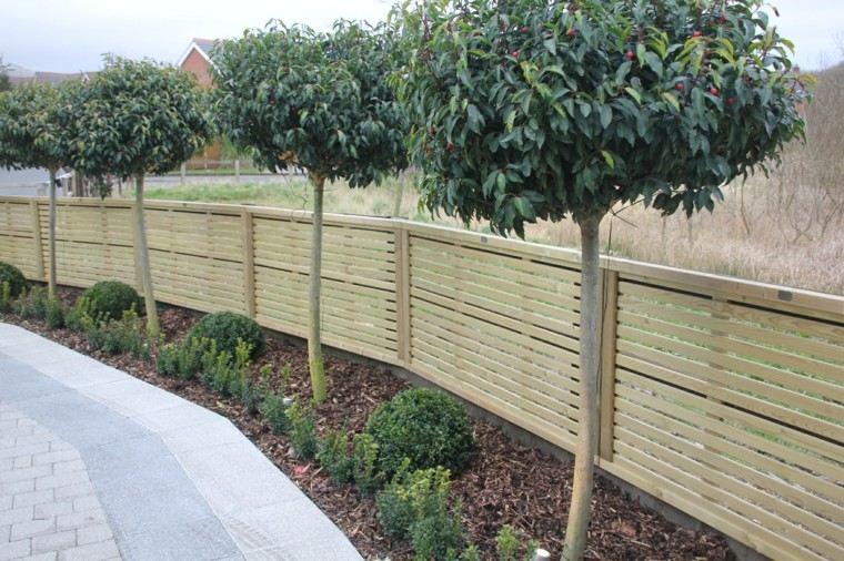 vallas de madera bajas jardin delantero ideas modernas