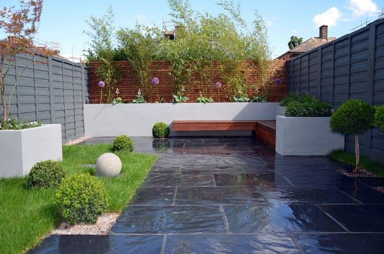 vallas de madera gris marron jardin banco acero