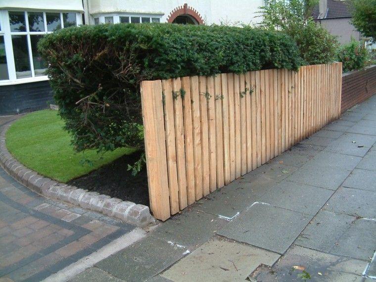 vallas de madera jardin delantero ideas simples modernas