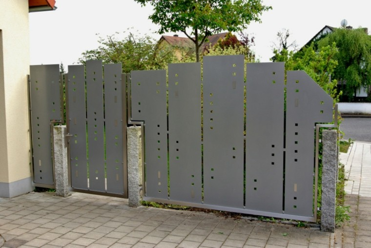 vallas metalicas color gris puerta jardin ideas