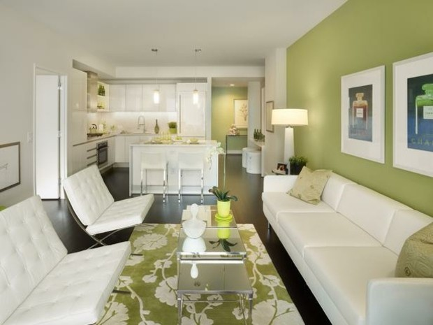 verde claro color pared salon