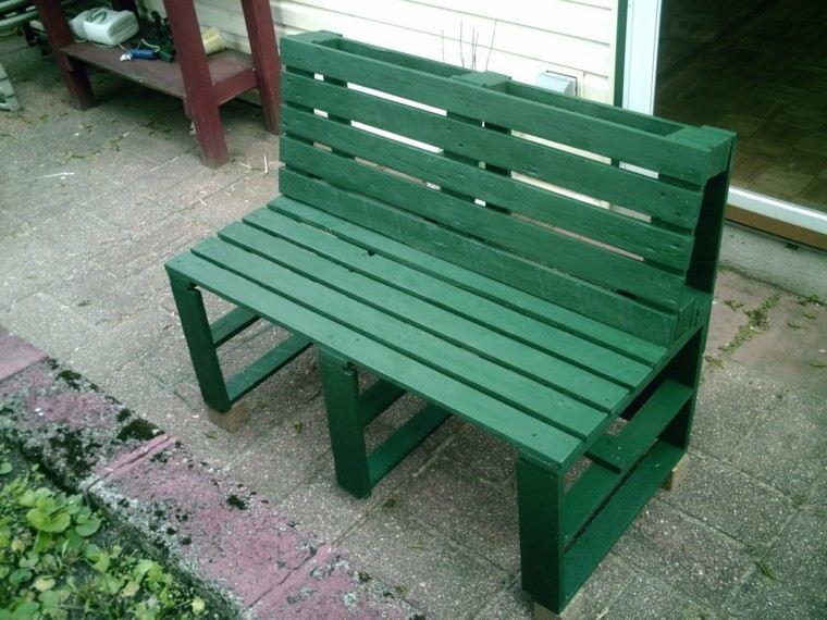 verde diseño paletas jardin exterior banco