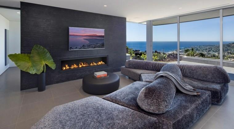 vista sofa fuego moderno planta pared diseño