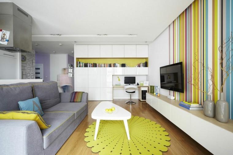 vivienda pequena aramario blanco grande alfombra verde ideas