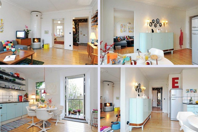 vivienda pequena decoracion colores mesa sillas blancas ideas