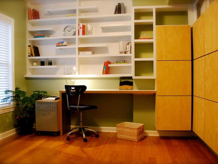 vivienda pequena escritorio pared estanterias decoracion ideas