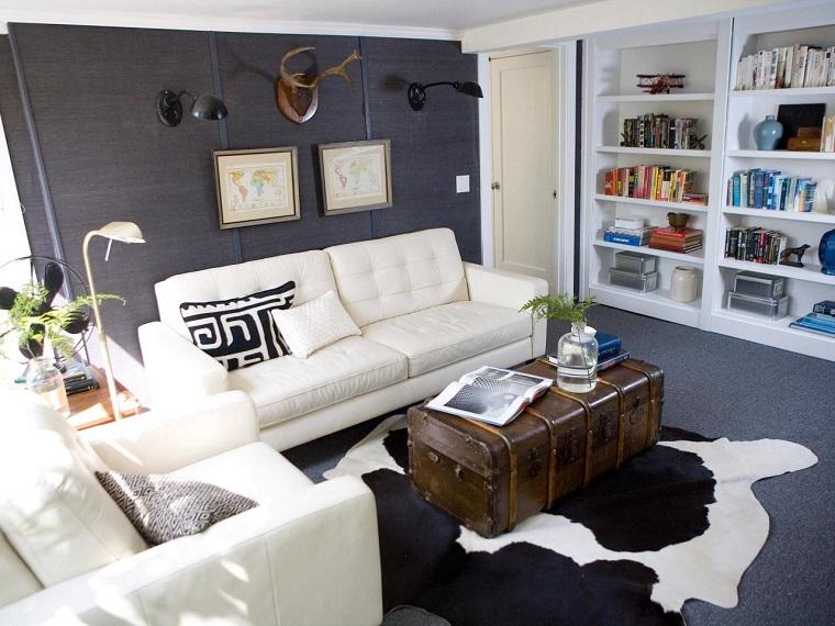 vivienda pequena pared gris oscuro sofas blancas ideas