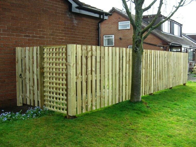 vllas de madera separar jardin grande cesped ideas
