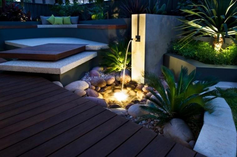 zen moderno rocas maderas led