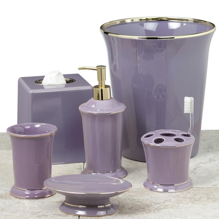 accesorios de baño color lila