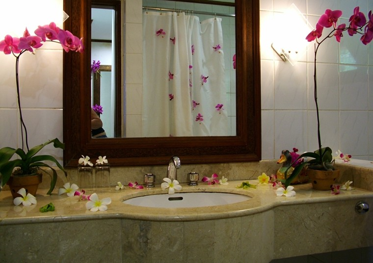 accesorios banos pequenos flores espejo grande ideas