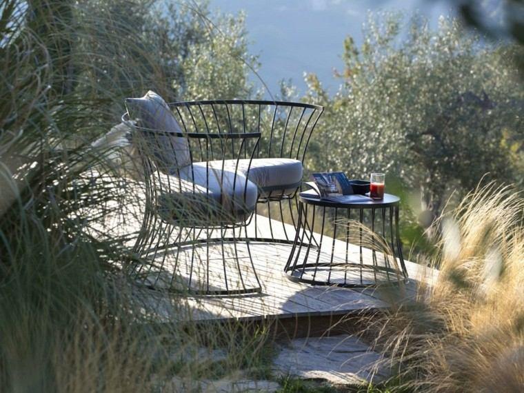 acero negro sofa jardin moderno ideas