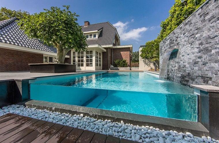 acrilico piscinas madera casa rocas