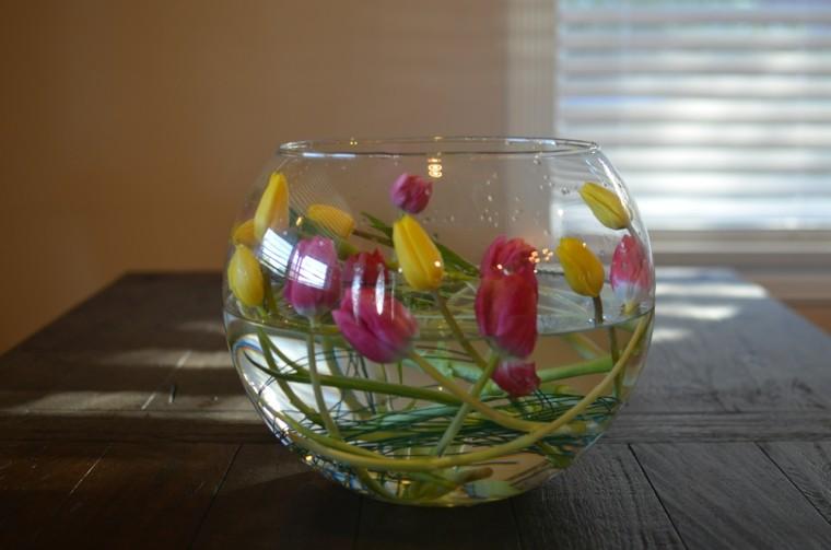 agua pecera vidrio mesa tulipnes