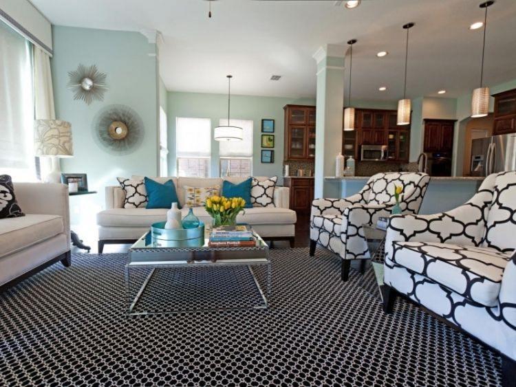 alfombra original salon moderno pares azul muebles blancos ideas