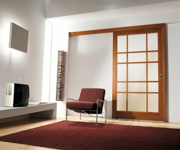 alfombra rojo televisor retro madera