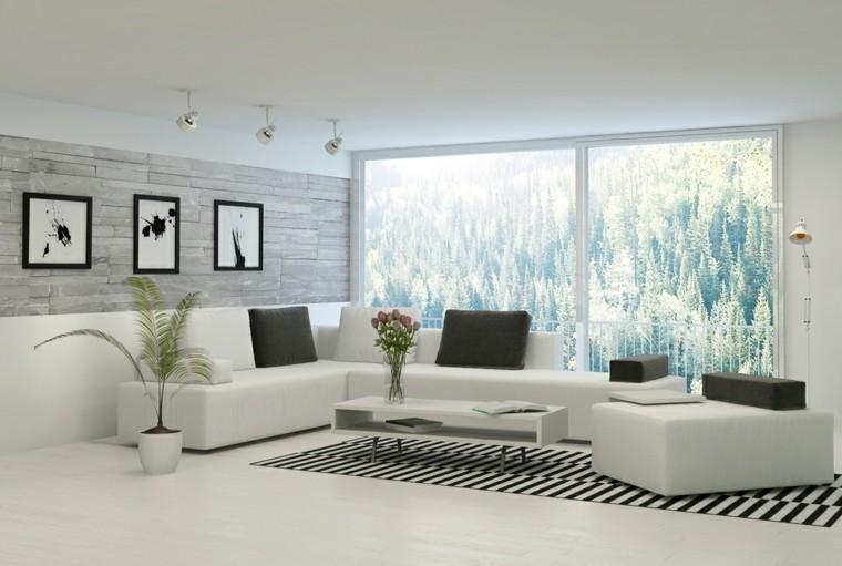 alfombras diseño macetas blancas salon