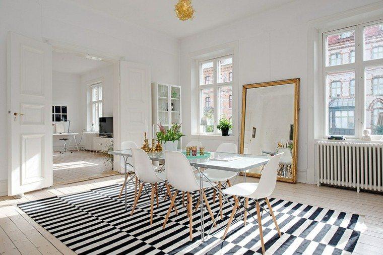 alfombras diseño madera sillas comedor rayas