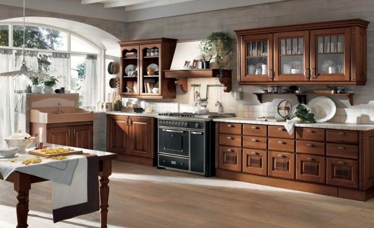 amplia cocina campestre estilo marron