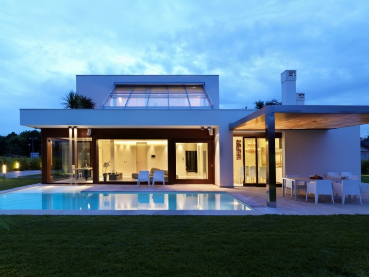 large lighted patio lawn house