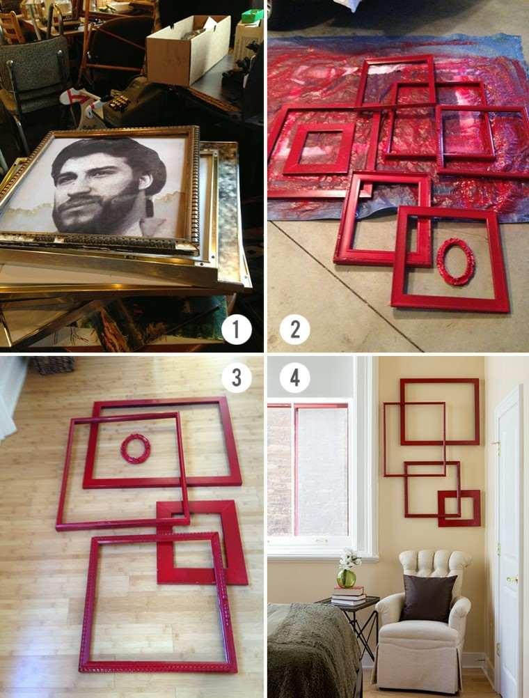 antiguos marcos rojos habitacion diy