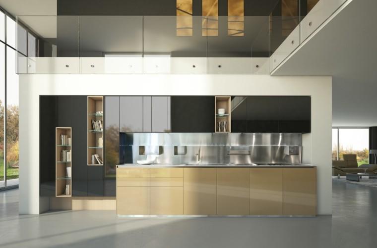 apartamento abierta cocina estantes laca