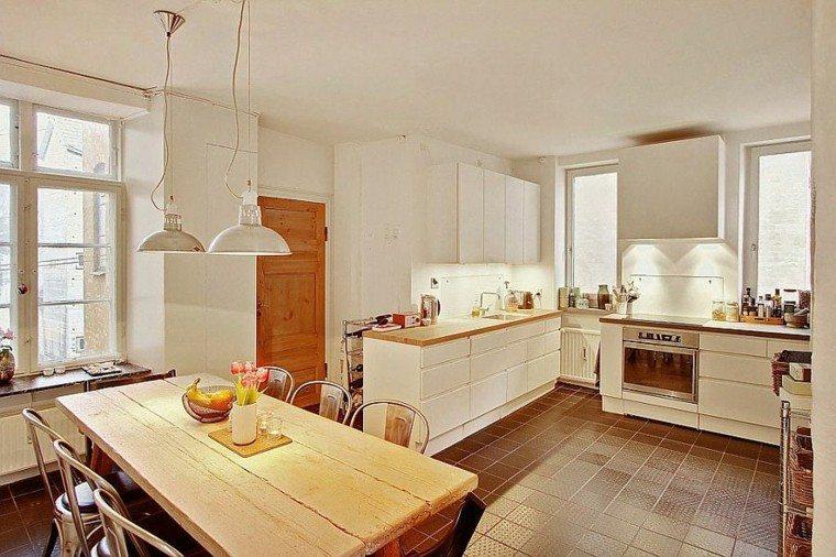 apartamento diseño escandinavo cocina mesa madera ideas