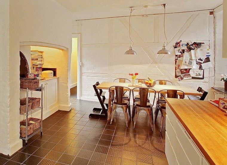 apartamento diseño escandinavo cocina paredes blancas ideas