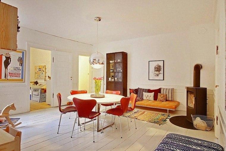apartamento diseño escandinavo comedor sillas rojas ideas