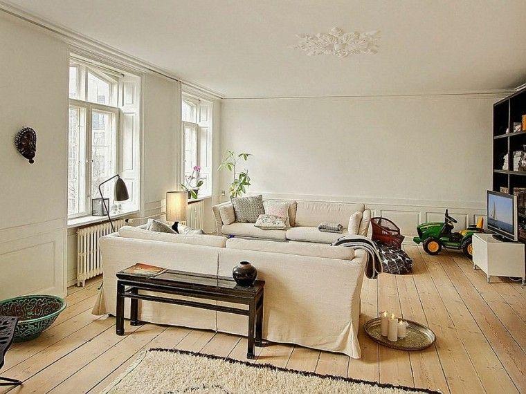 apartamento diseno escandinavo salon mesa madera ideas