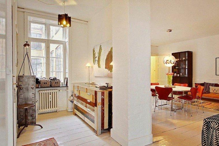 apartamento diseno escandinavo salon muebles madera ideas